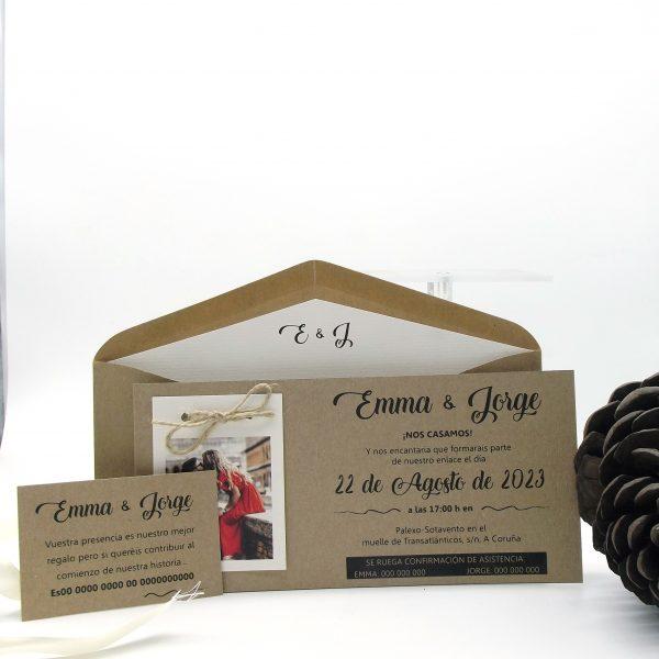 Invitación de Boda personalizada en coruña, estilo Boh